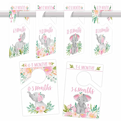 6 Baby Closet Size Dividers Baby Girl - Elephant Baby Closet Dividers By Month, Baby Closet Organizer For Nursery Organization, Baby Essentials For Newborn Essentials Baby Girl, Nursery Closet Divider