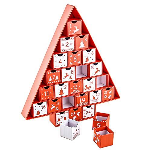 Calendario de Adviento, Calendario Adviento para Rellenar, Calendario de Adviento en Forma de Árbol de Navidad, Se Puede Llenar con 24 Cajas, Cartón con Escenas Navideñas, Cajas de Regalo Decorativas