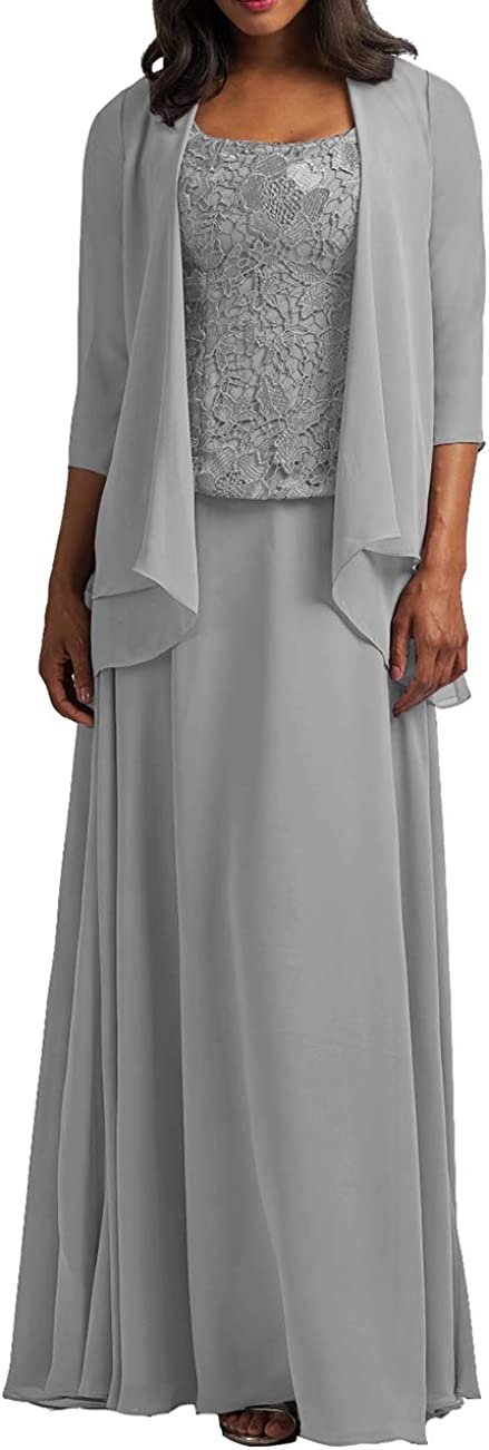 Mother of The Bride Dresses with Jacket Long Formal Evening Gowns Chiffon Plus Size Lace Prom Dress for Party