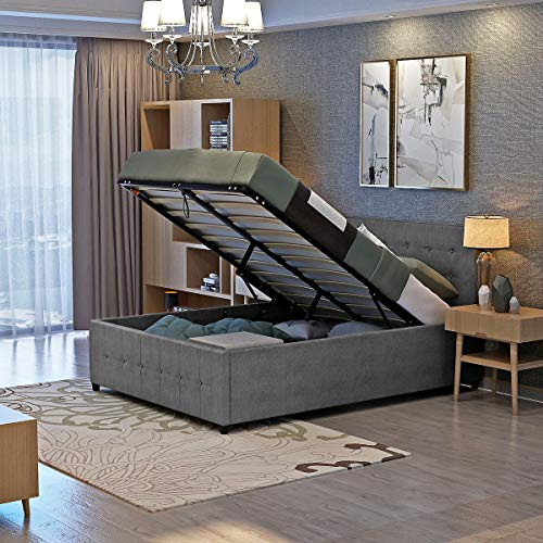 Panana Grey Fabric Ottoman Bed Gaslift Storage Space Bed Frame (4ft6 Double Bed)