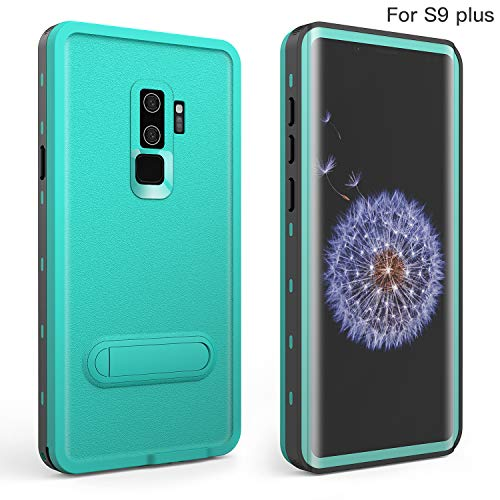 Fansteck Samsung Galaxy S9 Plus Waterproof Case, IP68 Waterproof/Snowproof/Shockproof/Dirtproof, Full-Body Protective Case with Built-in Screen Protector for Galaxy S9+ (6.2 inch-Aqua Blue&Stand)