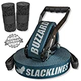 BUZZARD easyline blue 15m - Slackline-Set mit Baumschutz 120 cm - Made in Germany -