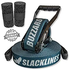 BUZZARD easyline blue 15m - Slackline set with tree protection 120 cm - Made in Germany