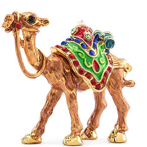 YU FENG Camel Figurine Trinket Boxes Hinged Collectible Rhinestones Jeweled Painted Enameled Decorative Animal Jewelry Ring Holder Box