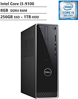 Dell Inspiron 3471 スモールフォームミニデスクトップ、第9世代コア、9100 3.60 GHz、8GB DDR4 RAM、256GB M.2. SATA SSD(ブート) + 1TB HDD、802.11bgn + Bluetooth 4.0、HDMI、VGA、DVD-RW、Windows 10。