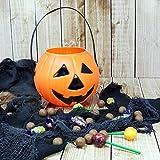 kamiustore Porta dolcetti Halloween - Cestino a Forma di Zucca per Caramelle e dolcetti - Borsa per dolciumi Diametro 17cm per Travestimenti