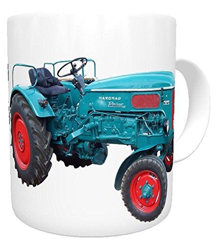 Kinderlampenland personalisierte Tasse Traktor Hanomag mit Namen Trecker Oldtimer für Landwirte Treckerfahrer blau
