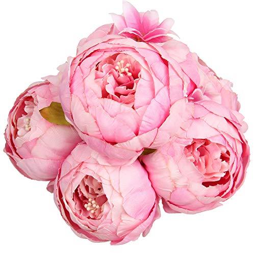 Flojery シルク牡丹ブーケ ヴィンテージ人工牡丹の花 ホームウェディングパーティーの装飾用 (1個、スプリングローズピンク)