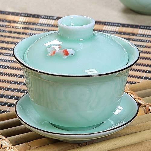 HCO-YU Chinois Celadon Fish Gai Wan Tea Ensemble De Thé, Os Chine Tea Tea Tea Tea Tea Porcelaine Teacup Teacup Teacup Tea for Une Bouilloire Créative