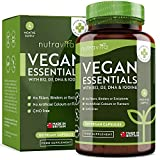Vegan Essential Mix - Multivitamin and Multimineral Formulation to Support a Plant Based Diet - with Vitamin B12, Vitamin D3, DHA, Iodine, Iron and Zinc - Made in The UK by Nutravita
