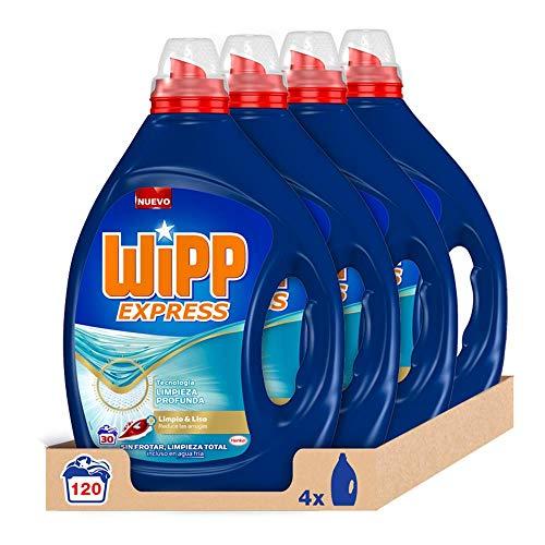 Wipp Express Detergente Líquido Limpio y Liso para lavadora 30 Lavados - Pack de 4, Total: 120 Lavados