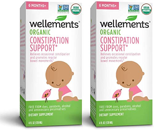 Wellements Organic Baby Constipation Support, Free from Dyes, Parabens, Preservatives-Packaging May Vary, 4 Fl Oz (Pack of 2), 8 Fl Oz
