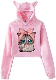 Pan Hui Women Cat Printed Crewneck Long-Sleeve Sweatshirt Casual Loose Pullover Comfy T-Shirt Blouse Crop Tops