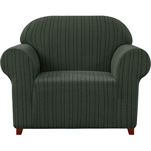 Subrtex - Funda para sillón elástico jacquard a rayas, funda de sofá de un plazo, antiarañazos, para gatos, perros, sofá protector lavable (1 plaza, verde olivo)