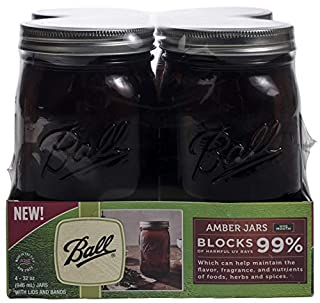 Ball Wide Mouth Canning Jars, Quart, Amber, 4 Count,1440069046 (B0787ZV8BW) | Amazon price tracker / tracking, Amazon price history charts, Amazon price watches, Amazon price drop alerts