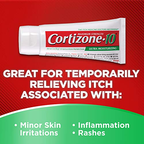Cortizone-10 Plus Ultra Moisturizing Cream, 2 Ounce, Anti-Itch Cream with Aloe Vera and Vitamin A, Helps Relieve Itchy, Dry Skin associated with Rashes, Eczema and Psoriasis