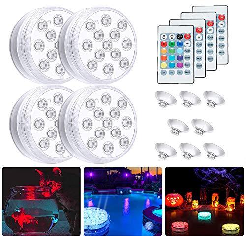 4 Pezzi Luce LED Sommergibili Luci Piscina, Luce a 13 LED RGB Impermeabile con Telecomando & Ventosa Magnetica per Giardino Cerimonia Nuziale Partito Piscina Laghetto Acquario Fish Tank Decorazione