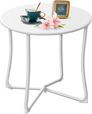 """Amagabeli Metal Patio Side Table 18"""" x 18"""" Heavy Duty Weather Resistant Anti-Rust Outdoor End Table Small Steel Round Coffee Table Porch Table Snack Table for Balcony Garden Yard Lawn, White"""
