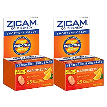 Zicam Cold Remedy Rapidmelts Citrus Flavor Quick-Dissolve Tablets 25 Count  Pack of 2