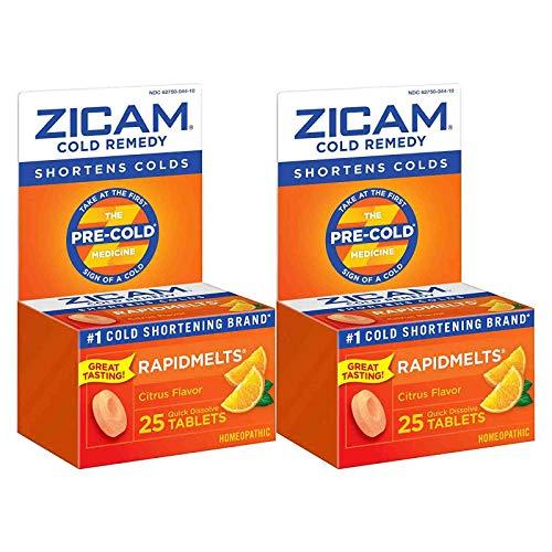 Zicam Cold Remedy Rapidmelts, Citrus Flavor, Quick-Dissolve Tablets, 25 Count (Pack of 2)