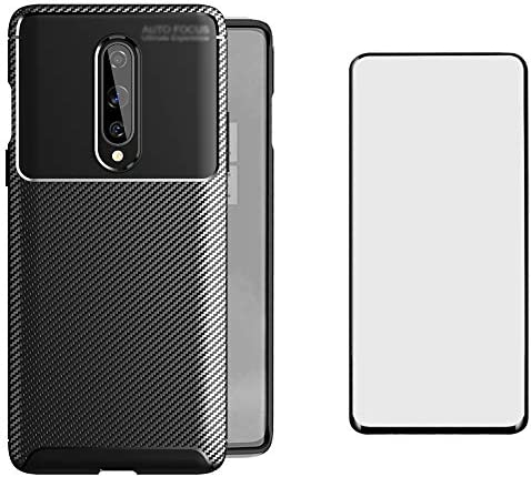 Phone Case for OnePlus 8 OnePlus8 5G Tmobile with Tempered Glass Screen Protector Cover and Cell Accessories Slim Thin TPU Silicone Carbon Fiber One Plus8 On 1 Plus 1plus One+ 1+ 1+8 Cases Men Black