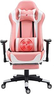 Nokaxus Gaming Chair Large Size High-Back Ergonomic Racing Seat with Massager Lumbar Support and Retractible Footrest PU Leather 90-180 Degree Adjustment of backrest Thickening sponges (YK-6008-PINK)
