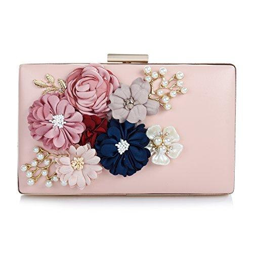 Audixius Hinreißend Damen Rechteckig Party Clutches Mit Blumen Dekoration,Pink