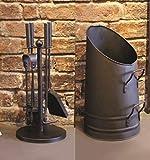 Garden Mile Vintage Style coin de la cheminée Companion Set CHARBON FEU Brûleur d'encens en bois accessoires et haut Seau bûche Support saborder ALLUMAGE métal