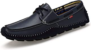 HaiNing Zheng Leisure Driving Loafers for Men Round Toe Oxfords Casual Flat Penny Shoes Leather Speed Lace Up Stitch Walk Boat Shoes Lightweight (Color : Blue, Size : 5 UK)