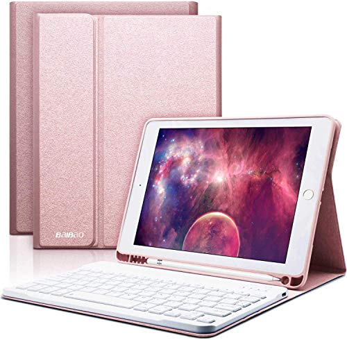 iPad Keyboard Case with Wireless Keyboard,BAIKEN Bluetooth Keyboard for iPad 2018 (6th Gen)/iPad 2017 (5th Gen)/iPad Pro 9.7/iPad Air 2&1,Built-in Pencil Holder (Champagne)
