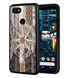 Google Pixel 3A Case, Slim Anti-Scratch TPU Rubber Protective Case Cover for Google Pixel 3A (2019) - Marine Theme Wood Background Rudder Like Compass Ocean Image