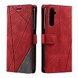 Hülle für Realme 6 Pro, SONWO Premium Leder PU Handyhülle Flip Hülle Wallet Silikon Bumper Schutzhülle Klapphülle für Realme 6 Pro, Rot
