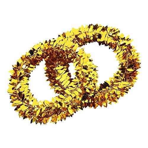 HERCHR Leaf Garland, Artificial Vines Fake Hanging Plants Leaves Ribbon Leaf Vine Baby Shower Decor, 2Pcs, 24.5 Ft(Gold)