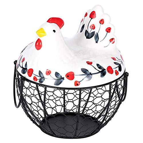 Arcwares Panier à œufs, Support de Rangement créatif d'oeufs de Poule en céramique, décoration de Cuisine de Panier de Collection de Fruits de collation