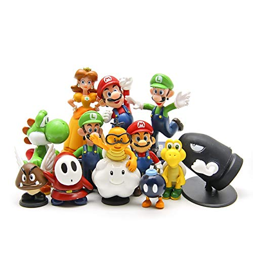 Super Mario Cake Topper Figures Toy Set of 12-Party Supplies Birthday Cartoon Figure Decoration