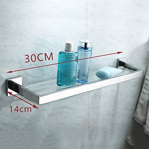 Bathroom Rack YSJ Verre trempé fixé au Mur en Verre rectangulaire d'étagère de Salle de Bains Extra épais, Sable argenté pulvérisé, (Taille : 40 * 14cm)