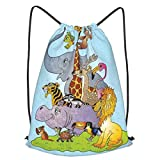 Mochila Con Cordones Unisex,Variedad de animales exóticos del zoológico en el fondo del vector libre de regalías,Bolso con Cordón Impermeable para Nadar/Surfear/Viajar/Hacer Senderismo/Yoga/Deportes
