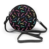 BAODANLA Bolso redondo mujer Women's Round Vegan Leather Crossbody Satchel Shoulder Bag Multicolored Scissor Circle Tote Shopping Bag For Ladies Sling Bag
