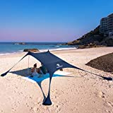 SUN NINJA Pop Up Beach Tent Sun Shelter with Sand Shovel, Ground Pegs,and Stability Poles, Outdoor Shade for Camping Trips, Fishing, Backyard Fun or Picnics (7X7.5FT 2 Pole, Navy)
