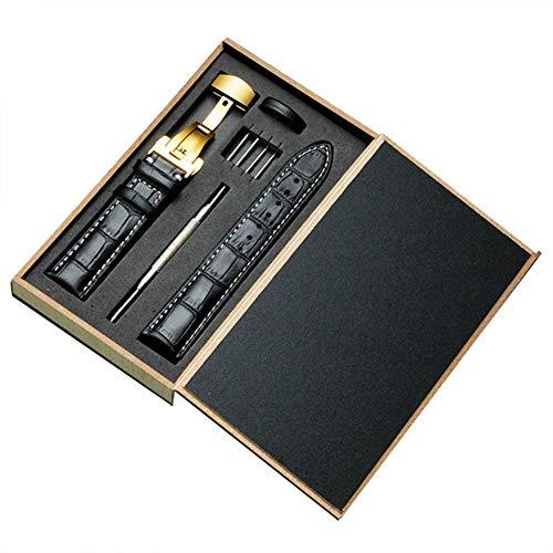 YYDZ Reloj del Cuero de la sustitución de la Correa de cocodrilo del Grano de la Mariposa Hebilla con Cierre desplegable for Hombres Mujeres Negro Oro, 17 mm XX (Color : Black)