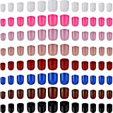 192 Pieces Colorful Short False Nails Square Artificial Fake Nail Full Cover Coffin Press on Nails Colorful 8 Sets Pink Sunset Full Cover UV Coat Artificial Acrylic Nails (Mixed Color)