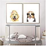 QIAOZ Arte de Pared, Corona Floral Cachorro Perros Arte Lienzo póster Pintura Husky Golden Retriever Pastor Australiano Cuadro de Pared sin Marco