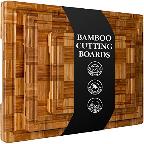 Extra Large Bamboo Cutting Boards, (Set of 3) Chopping Boards with Juice Groove Organic Bamboo Wood Cutting Board Set Butcher Block for Kitchen, End Grain Serving Tray by Kikcoin