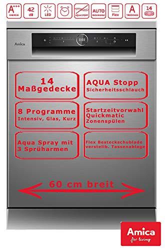 Amica Geschirrspüler 60cm Edelstahl unterbaufähig Aqua Stopp Touch Display GSP 544 910 E