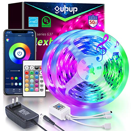 LED Lights Bluetooth 50ft, GUPUP LED Smart Strip Lights 5050 RGB Color Changing LED Strip Lights 50ft Sync to Music LED Lights for Bedroom Controlled by Bluetooth APP and 24-Key Remote