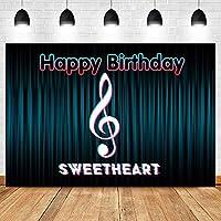 背景布 ブルーシーンカーテンお誕生日おめでとうチェリーテーマパーティーポスターバナー背景写真バナー-10x6.5ft