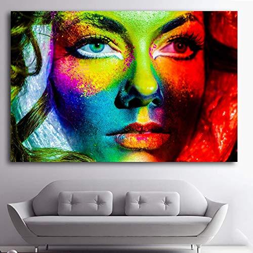 Modernes Mädchen Ölgemälde Leinwand Mädchen Gesicht Wandkunst Dekoration Malerei Wandbild Original Geschenk Rahmenlose Malerei 20cmX30cm