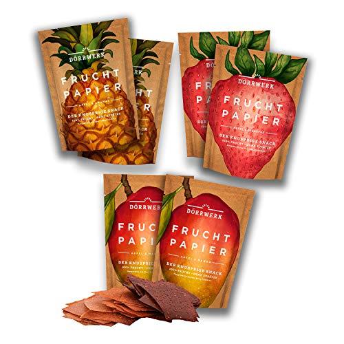 Frutas secas en seis paquetes de papeles de fruta (6x 40 g) – bocadillos (snacks) de fruta de piña, manzana, mango, fresas, aire seco - frutas secas