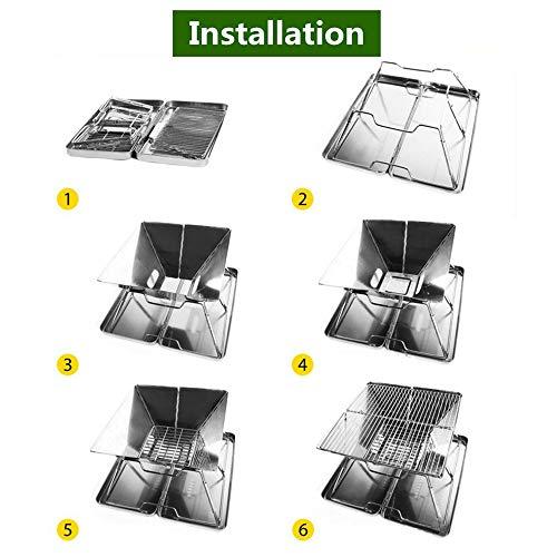51Hyx5O m0L. SL500  - YWZQ Folding Edelstahl BBQ Grill, tragbare Camping Grills im Freien Holzkohlegrill Grillrost Grillzubehör, für Küchenhelfer