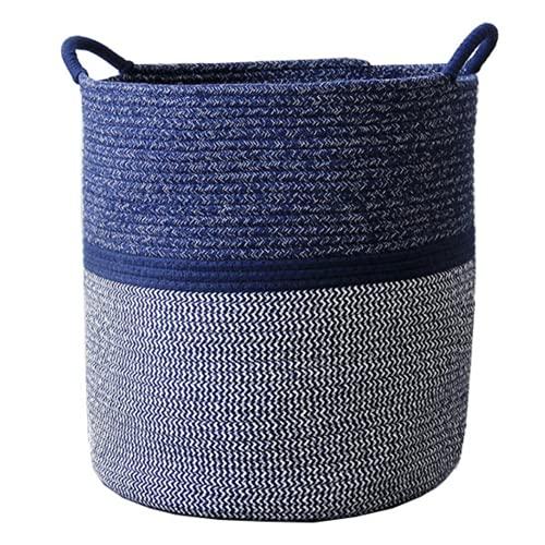 Morbido 収納バスケット 綿性 大型 持ち手付き 北欧風 ランドリーバスケット 洗濯物収納 洗濯物かご 洗濯物入れ おもちゃ収納 スリッパ収納 タオル収納 クッション収納 ぬいぐるみ収納 (ネイビー グレー Mサイズ)